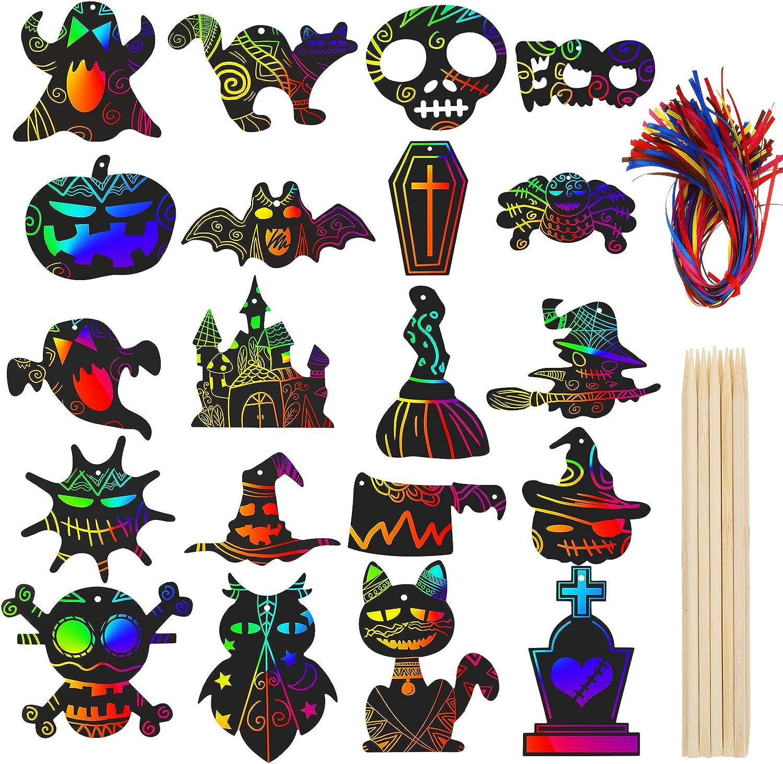 100 St/ücke Halloween Scratch Papier Regenbogen Kratzpapier Magische Farbe Scratch Papier DIY Scratch Off Kunst mit 12 Holz Stiften und 100 Gemischten Farbigen B/ändern f/ür Halloween Dekoration Gro/ß