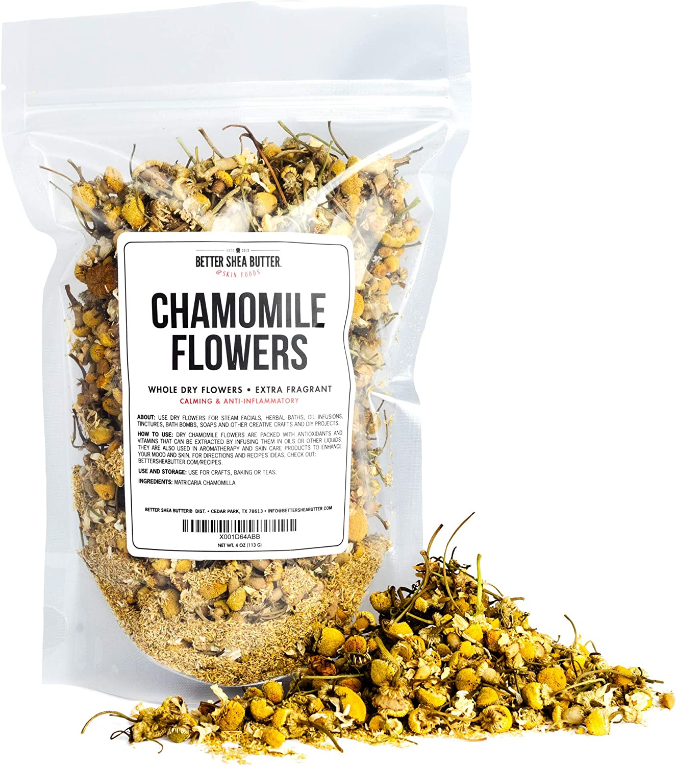 Chamomile Whole Flowers for Tea, Baking, Crafts, Sachets, Baths, Oil Infusions - 4oz in Resealable, Recyclable Pouch - by Better Shea Butter