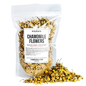Chamomile Whole Flowers for Tea, Baking, Crafts, Sachets, Baths, Yoni Steam, Oil Infusions, Tinctures - 4oz in Resealable, Recyclable Pouch - by Better Shea Butter natural sleep aids - 819GmcKWWgL - Natural sleep aids – the best supplements to end sleepless nights
