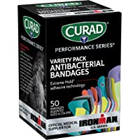 Curad - CURIM1850 Performance Series Ironman Antibacterial Bandages, Extreme Hold Adhesive Technology, Assorted Variety…
