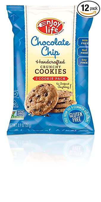 Enjoy Life Handcrafted Crunchy Cookie, Chocolate Chip, 0.9 Ounce (Pack of 12)