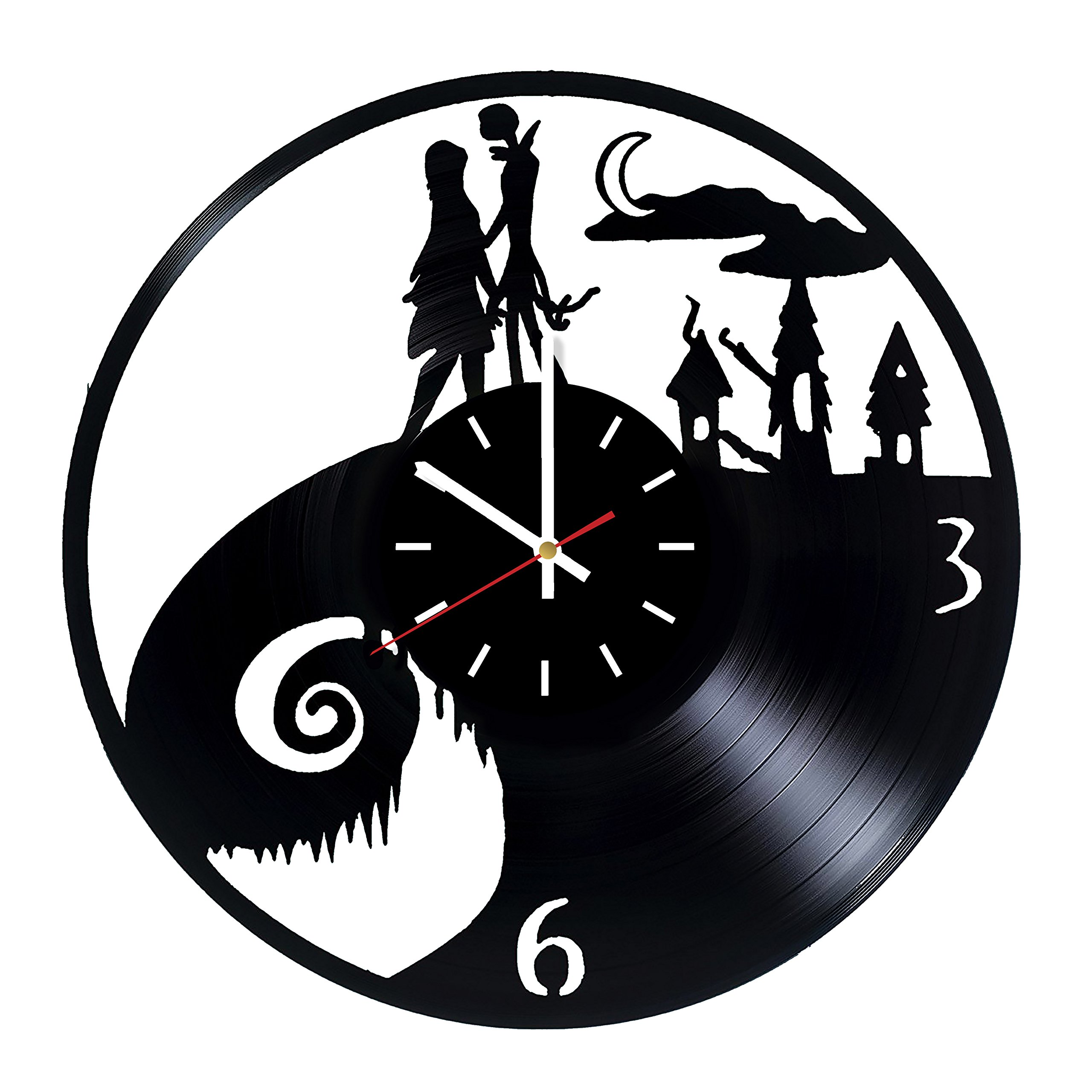 Nightmare Before Christmas Jack and Sally Vinyl Record Wall Clock - Kids room or Nursery wall decor - Gift ideas for kids, siblings, children - Animation Cartoon Unique Art Design