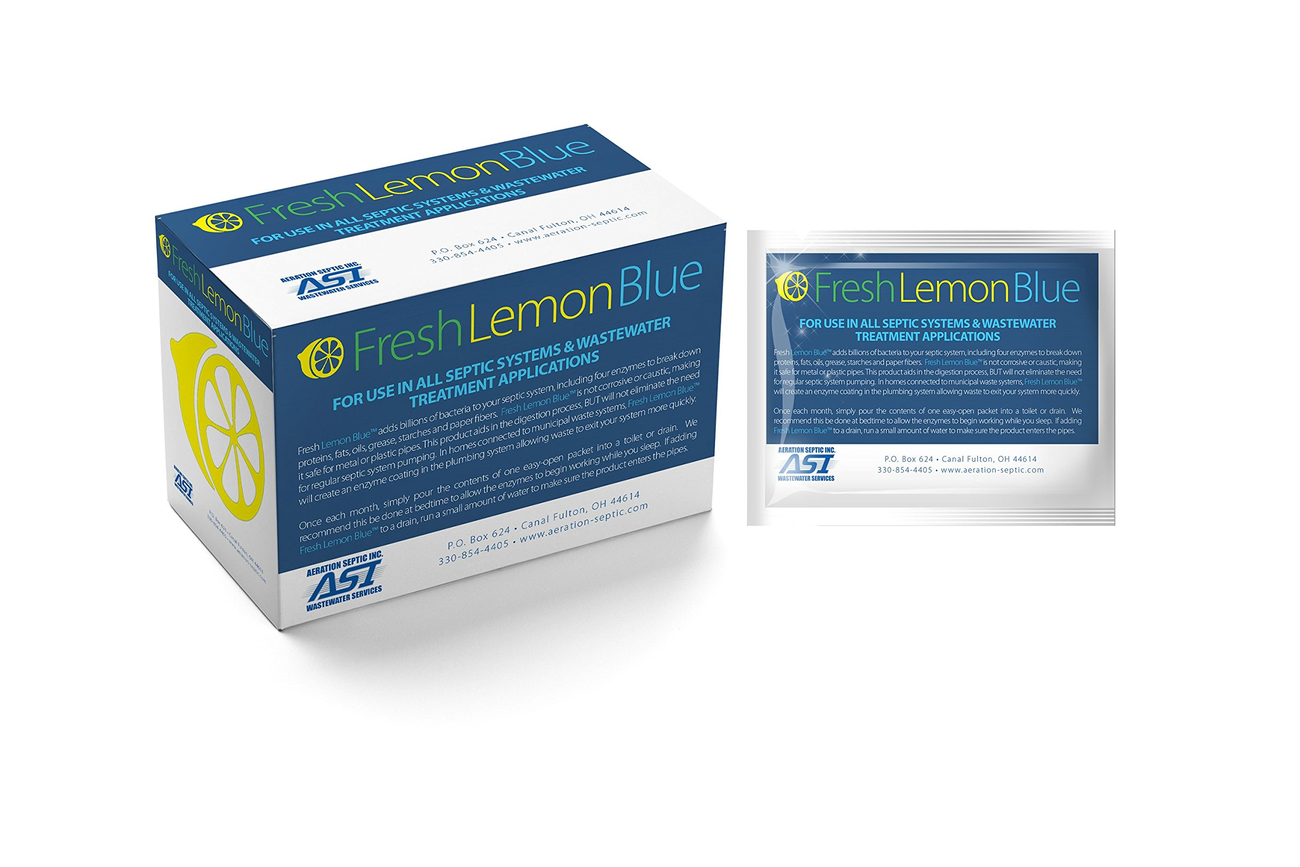 Fresh Lemon Blue Septic Tank System Treatment - Contains All Natural & Safe Enzymes And Bacteria 12 packets by Aeration Septic