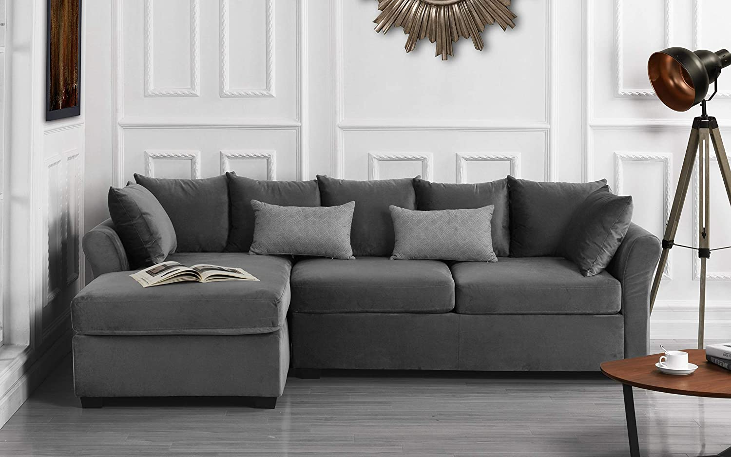 Modern Large Velvet Sectional Sofa, L-Shape Couch with Extra Wide Chaise  Lounge (Light Grey)
