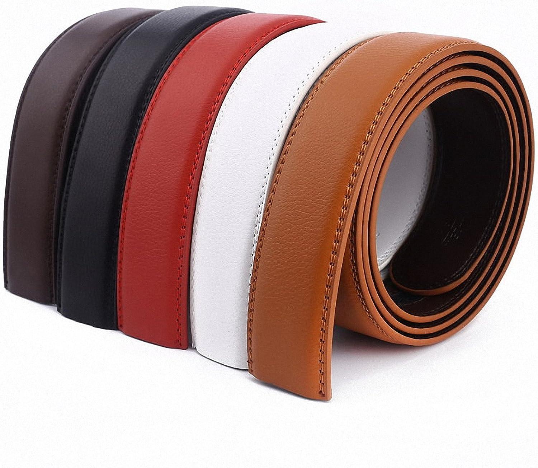 Smakke No Buckle Belt 3.5Cm White Red Brown 5Color Genuine Leather Automatic Belts Body Strap Designer Men Ribbon Belt