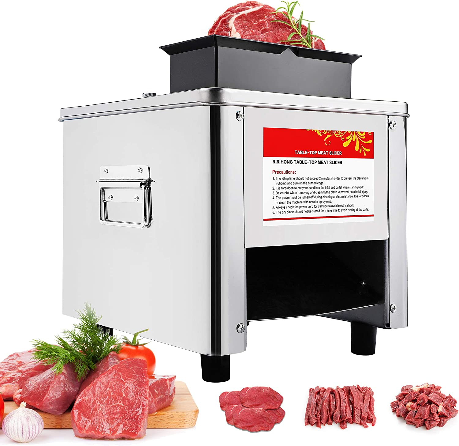 Mxmoonant 3.5mm+5mm Electric Meat Cutter Cutting Machine Slicer Cube Shredded Meat 330lb/h 850W 2 Feed ports Stainless Steel Chicken Fish Beef Chicken Meat Vegetable Slicer (3.5mm+5mm)