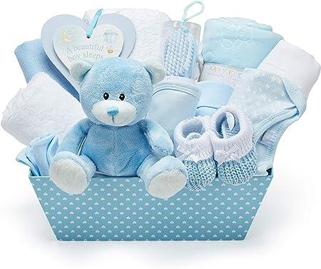 Cesta Regalo Bebé Niño Color Azul - Con Manta de Forro Polar, Toalla con Capucha, Ropa Bebé, 2 Muselinas Bebé y Osito de Peluche
