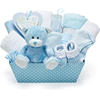 Baby Boy Blue Gift Hamper - with Fleece Wrap, Hooded Towel, Baby Clothes, 2 Muslin Cloths and Cute Teddy Bear