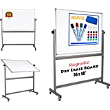 """Magnetic Mobile Whiteboard Large On Stand Double Sided Flip Over Dry Erase Reversible Portable Home Office Classroom Board 36 x 48"""" Inch with 4 Markers 12 Magnets Eraser and Ruler Easel Aluminum Frame"""