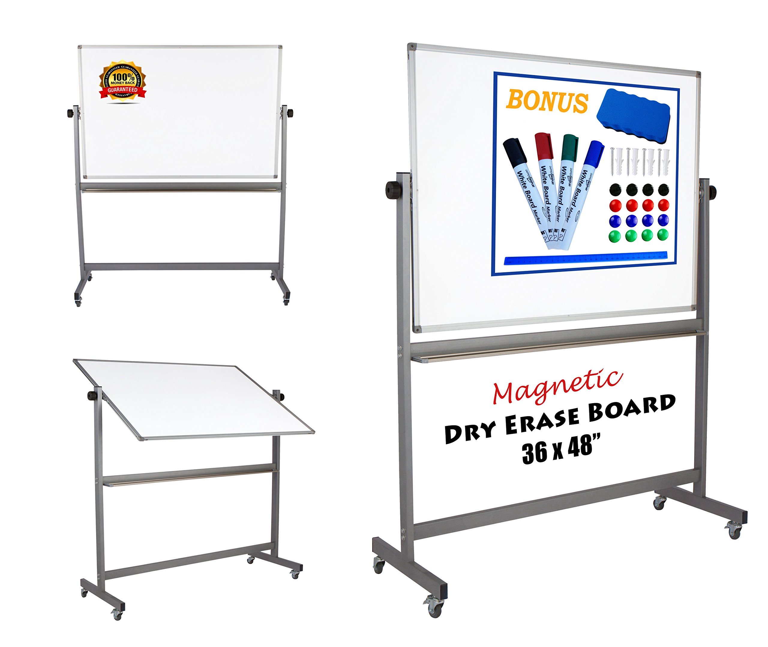 "Magnetic Mobile Whiteboard Large On Stand Double Sided Flip Over Dry Erase Reversible Portable Home Office Classroom Board 36 x 48"" Inch with 4 Markers 12 Magnets Eraser and Ruler Easel Aluminum Frame"