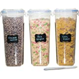 MiCasa Cereal & Dry Food Storage Container Set of 3 (16.9 Cup / 135.2oz) Airtight + 8 FREE Chalkboard Labels + 1 FREE Liquid Chalk Marker - Great for Flour, Sugar, Rice, Grains, Coffee, Pet Food
