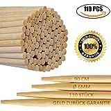 110ER Pack | 6mm 90cm extra long feu de camp brochettes | brochettes Guimauve | brochettes de bambou pour Hot Dogs, Kebab, charcuterie | écologique | 100% biodégradable