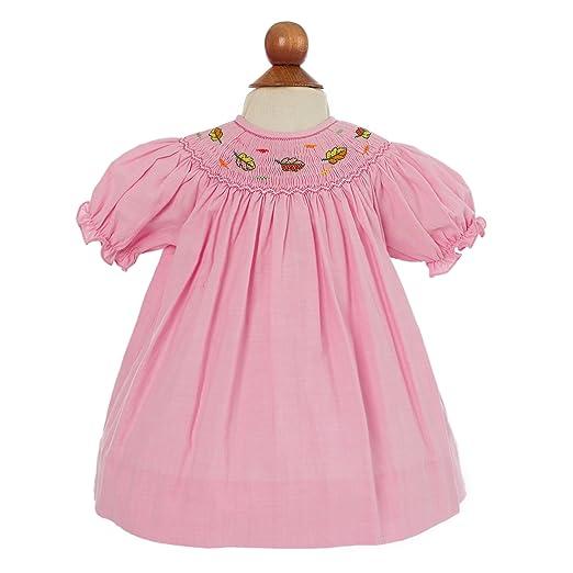 Kids 1950s Clothing & Costumes: Girls, Boys, Toddlers Carriage Boutique Baby Girls Hand Smocked Leaf Dress (3 Months Pink) $30.00 AT vintagedancer.com