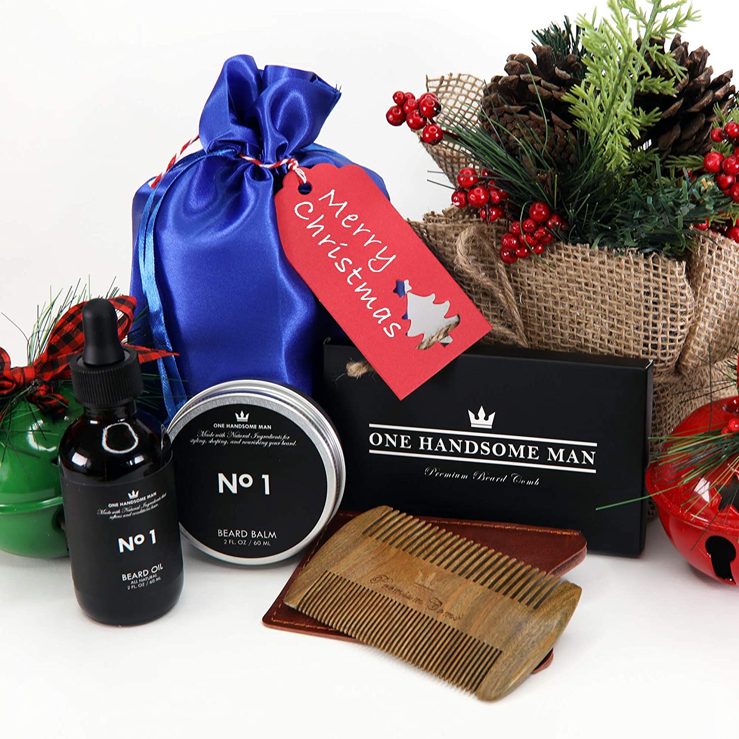 910803f3319a Amazon.com  Beard Care Gift Set for Men by One Handsome Man - Beard  Grooming Kit Includes Beard Comb