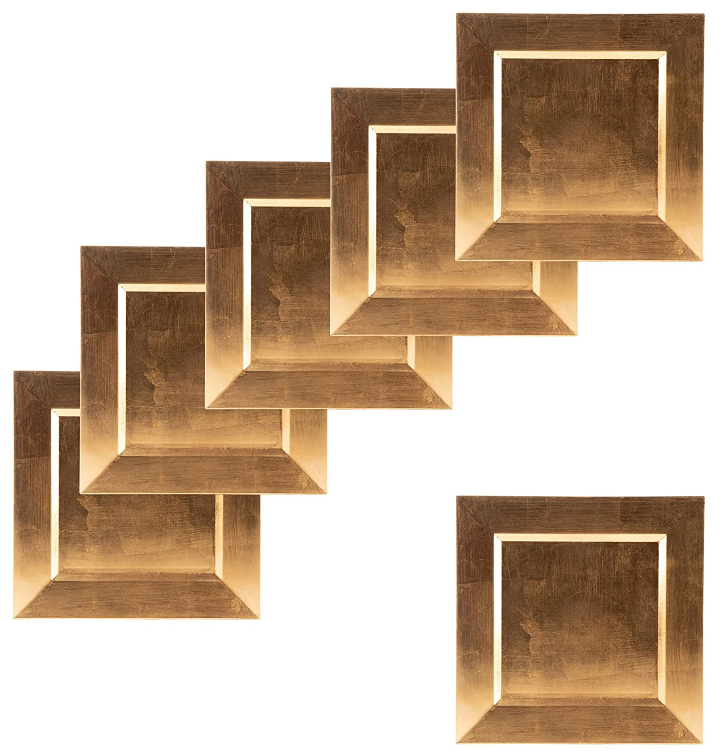 Square Charger Plates - 6-Pack 13-Inch Gold Charger Plates with Electroplated Finish, For Tabletop Decor on Special Events, Weddings, Banquets Juvale