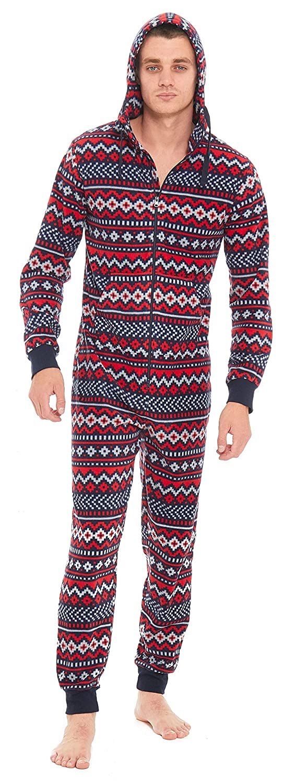 Slumber Hut® Mens Fleece Hooded Onesie Fair Isle Aztec Winter Pattern - Novelty Hooded All In One Pyjamas - Size Small to X-Large