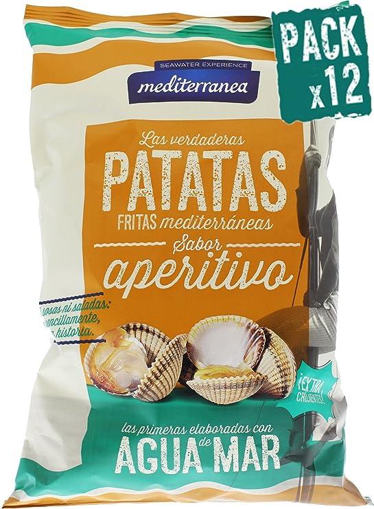 Pack de 12 uds Patatas fritas Mediterranea sabor Ajo negro, elaboradas con agua de mar y aceite de oliva, bolsa de 130 gramos, extra crujientes