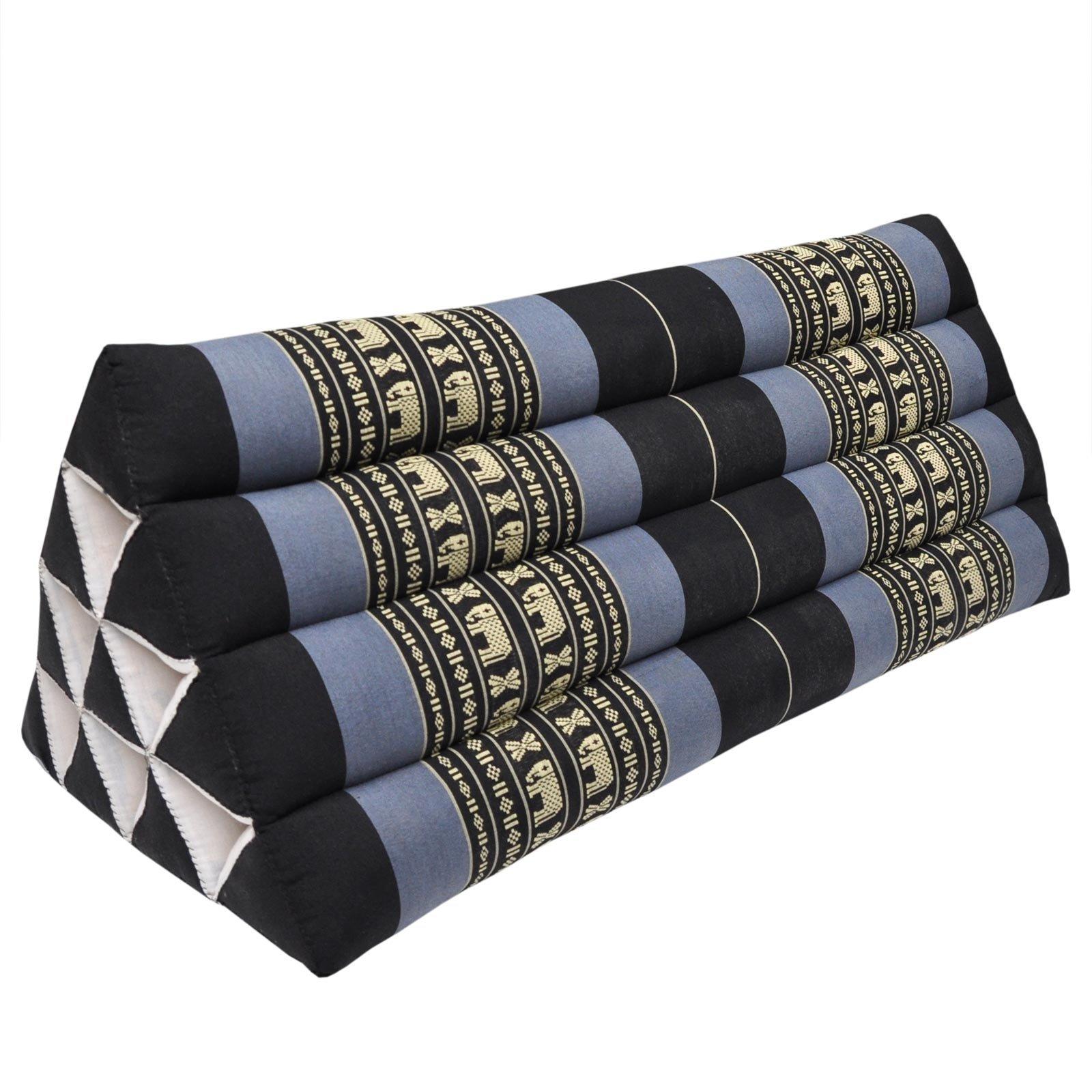 Thai triangular cushion XXL, relaxation, beach, kapok, made in Thailand Black/Violet (81315) by Wilai GmbH