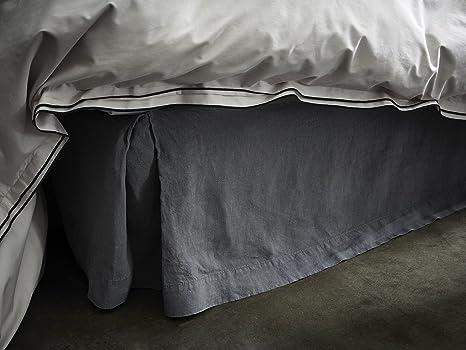 uni Blanc BLANC CERISE 180x200 cm Cache sommier Lin lav/é