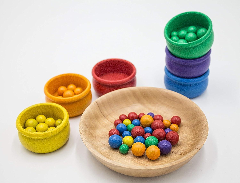 Sortierspiel Farben lernen Montessori Waldorf Pikler Kind Kugeln