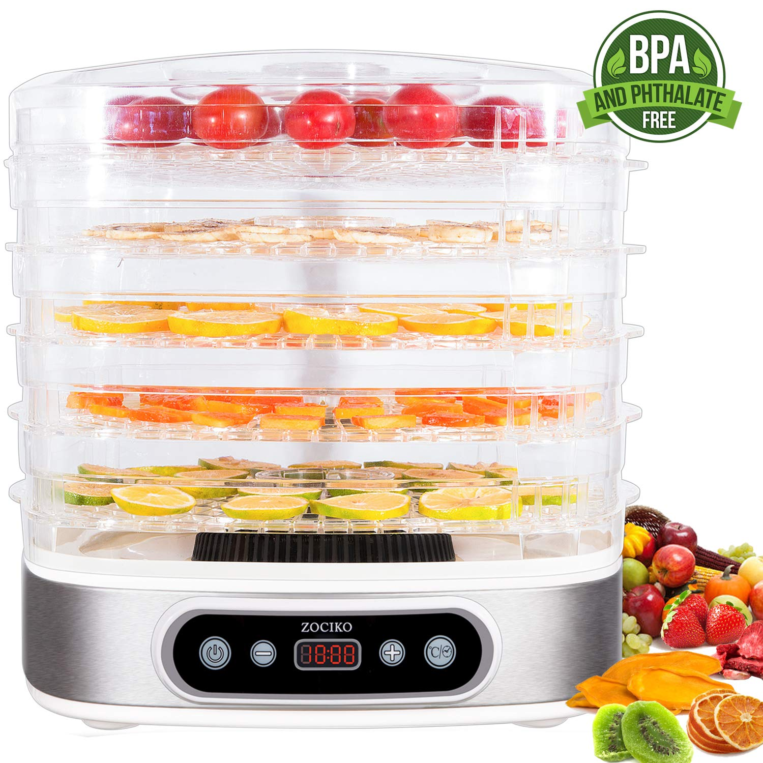 zociko Food Dehydrator Machine, Food Dehydrator Dehydrated Dog Food Dryer for Jerky/Meat/Beef/Fruit/Vegetable Electric Food Preserver, 5 Stackable Trays, Digital Timer 450W, BPA Free Dishwasher Safe by zociko