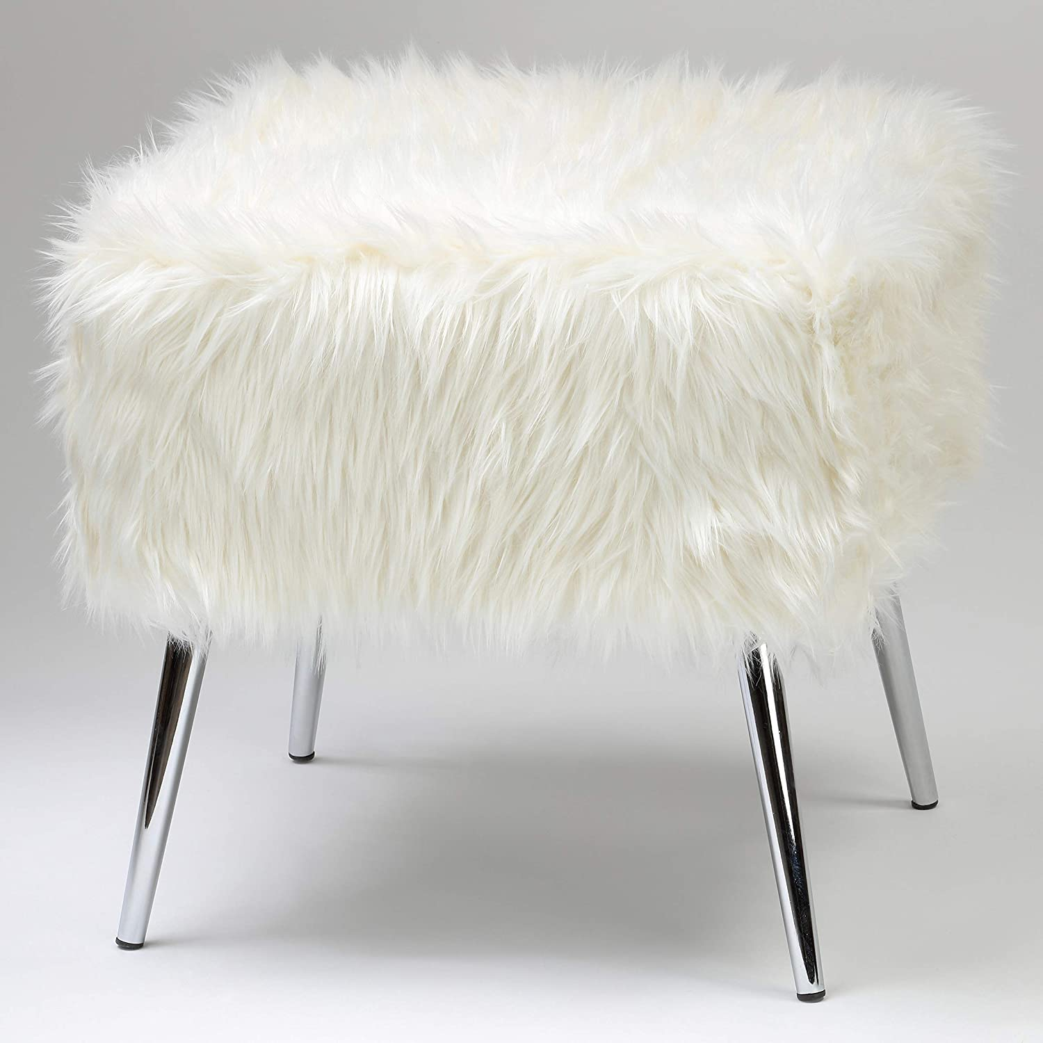 "Cortesi Home CH-OT905467 Olivia Faux Fur Ottoman with Chrome Legs, 20"", White"