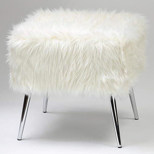 Cortesi Home Olivia Faux Fur Ottoman with Chrome Legs, 20 , White