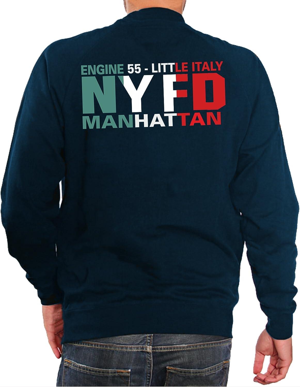 Manhattan New York Vigili del Fuoco feuer1 Felpa Navy Motore 55/Little Italy/ /Cinq Uanta Cinque