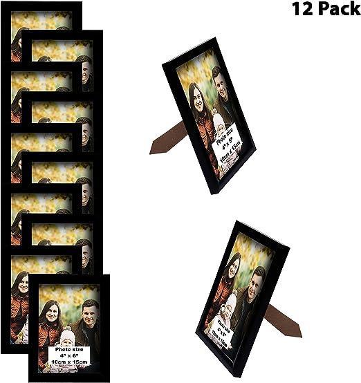BELLE VOUS Marco de Fotos (Pack de 12) (4x6)- Porta Fotos Negro ...