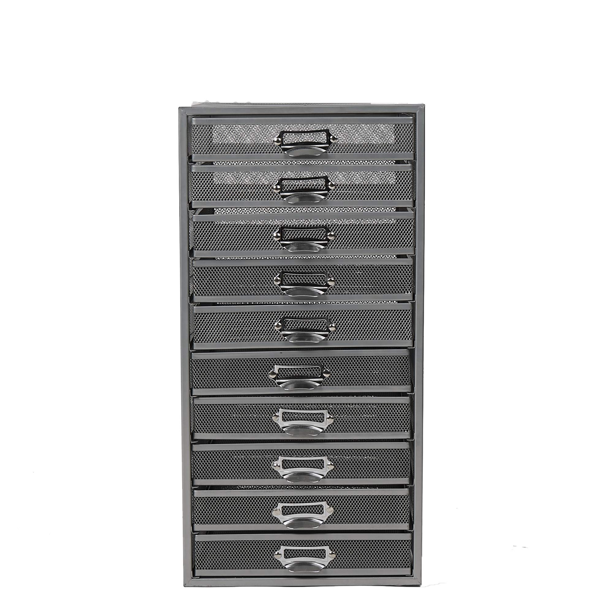 Mind Reader 10CABMESH-SIL Mesh 10 Cabinet, Metal Drawers, File, Utility, Office Storage, Heavy Duty Multi-Purpose Cart, Silver by Mind Reader