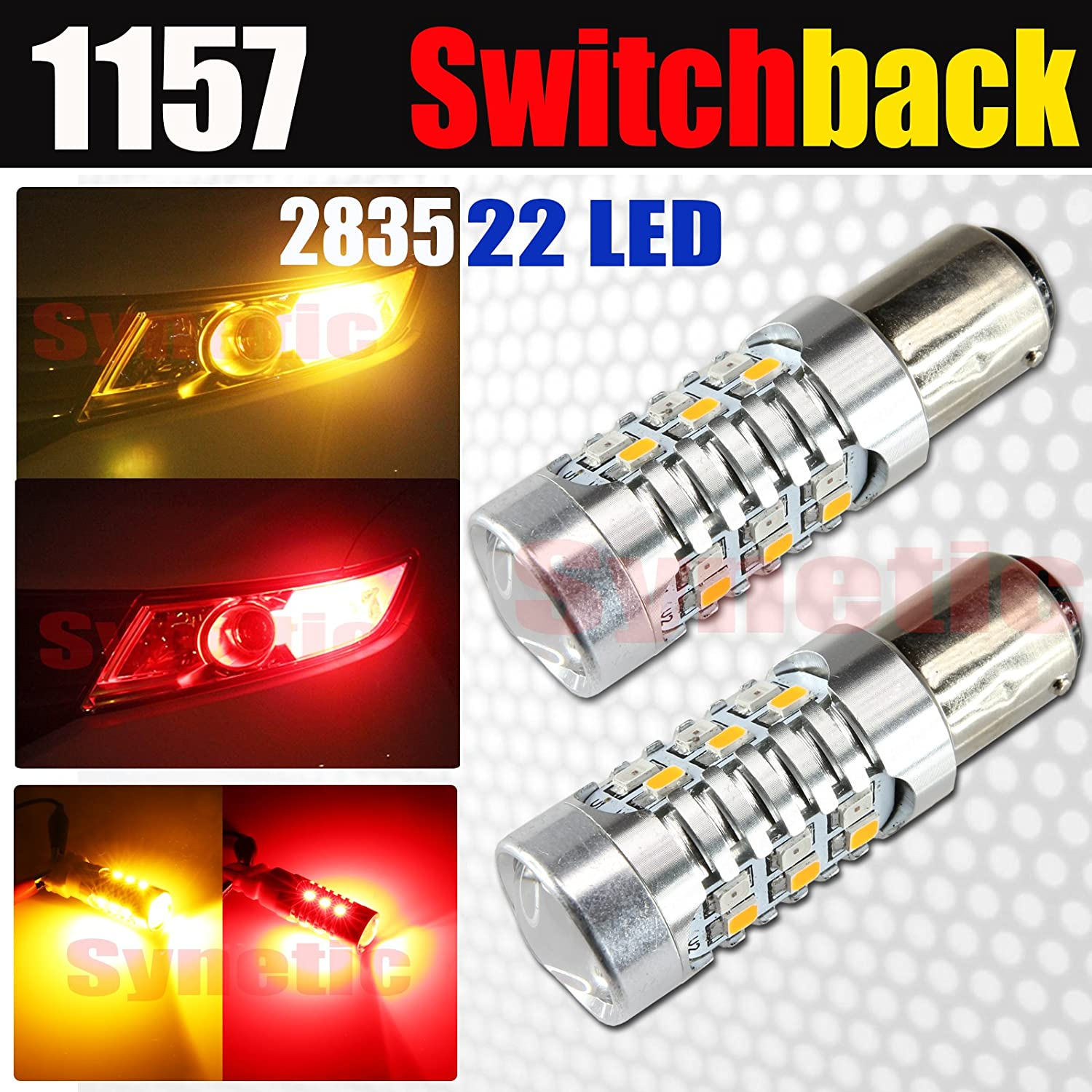 1157, Red//Yellow Syneticusa 3157//7443//1157 High Power Dual Color Switchback 2835 Chip Red//Yellow 22-LED Turn Signal Light Bulbs
