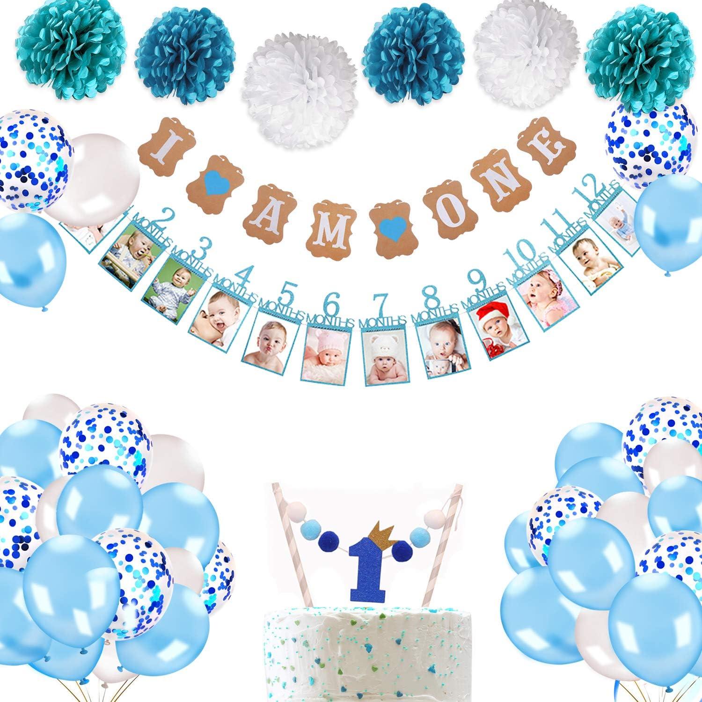 Party Dekor Taufe metagio Baby Ersten Geburtstag Girlande h/ängende Foto Wanddekoration f/ür Party Baby-Dusche Taufe Blau Erster Geburtstag Foto Banner f/ür Neugeborene bis 12 Monate
