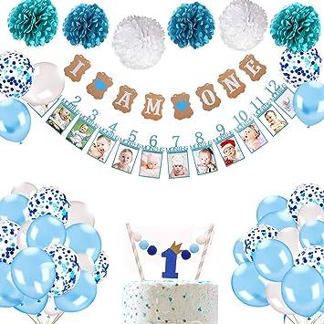 """Howaf Decoraciónes Cumpleaños 1 año Bebe Niño, 1 Banderines """" I Am one"""" + 12 meses bebé primer año marco foto guirnalda + 6 Pompón Bola de Flor + 25 ..."""