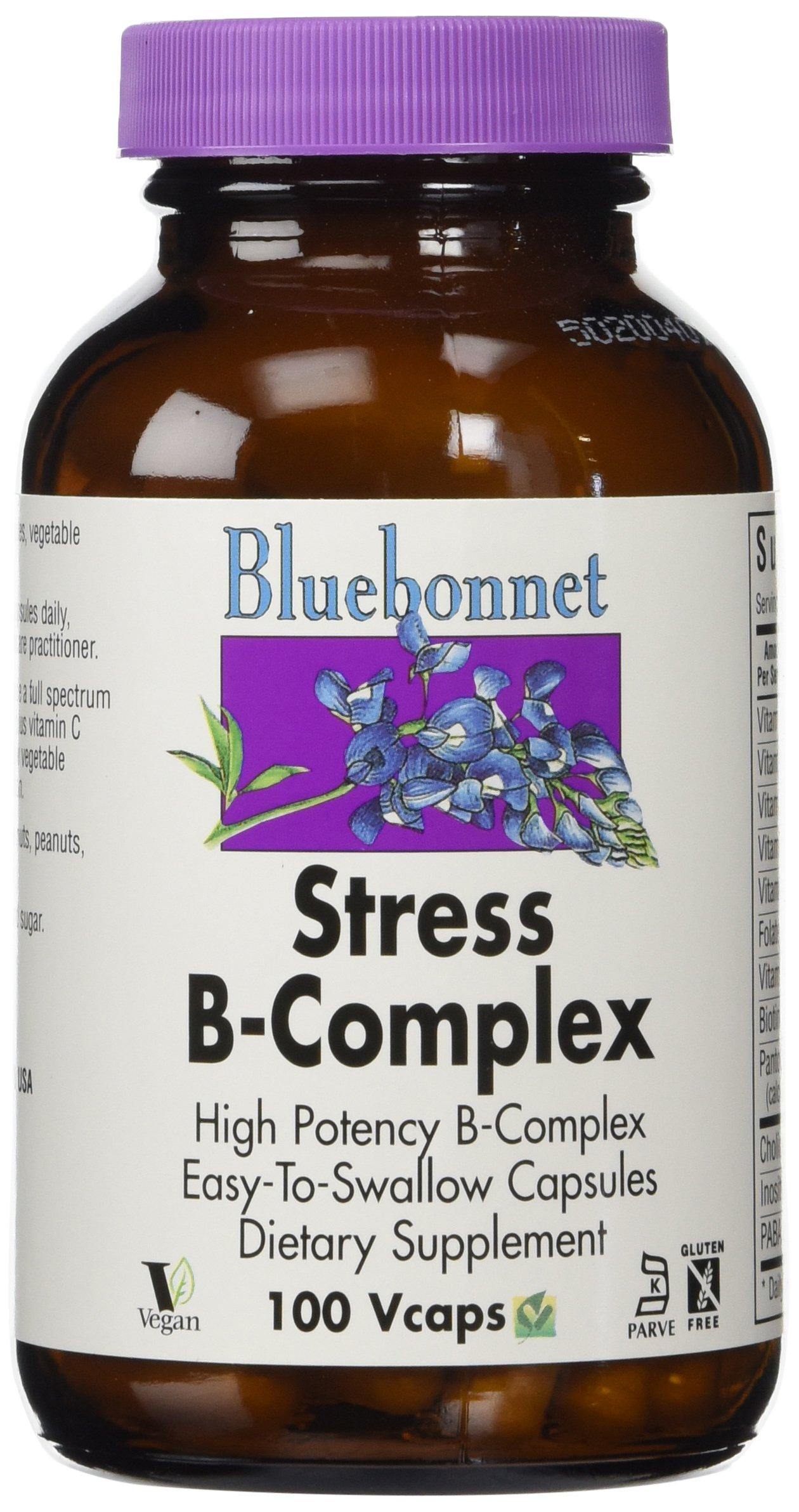 Bluebonnet Stress B-Complex 50 Vegetable Capsules, 100 Count
