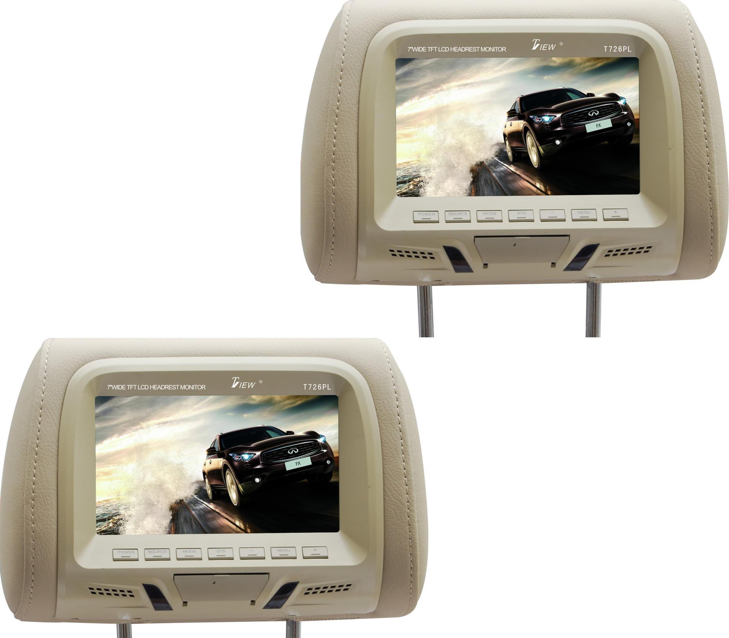 Tview T726PL-TN 7-Inch Car Headrest Monitor (Beige)
