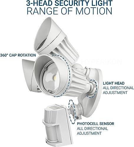 Hyperikon LED Security Light with Motion Sensor, 3 Head Dusk to Dawn, 30W, UL Listed, 2 Pack, White