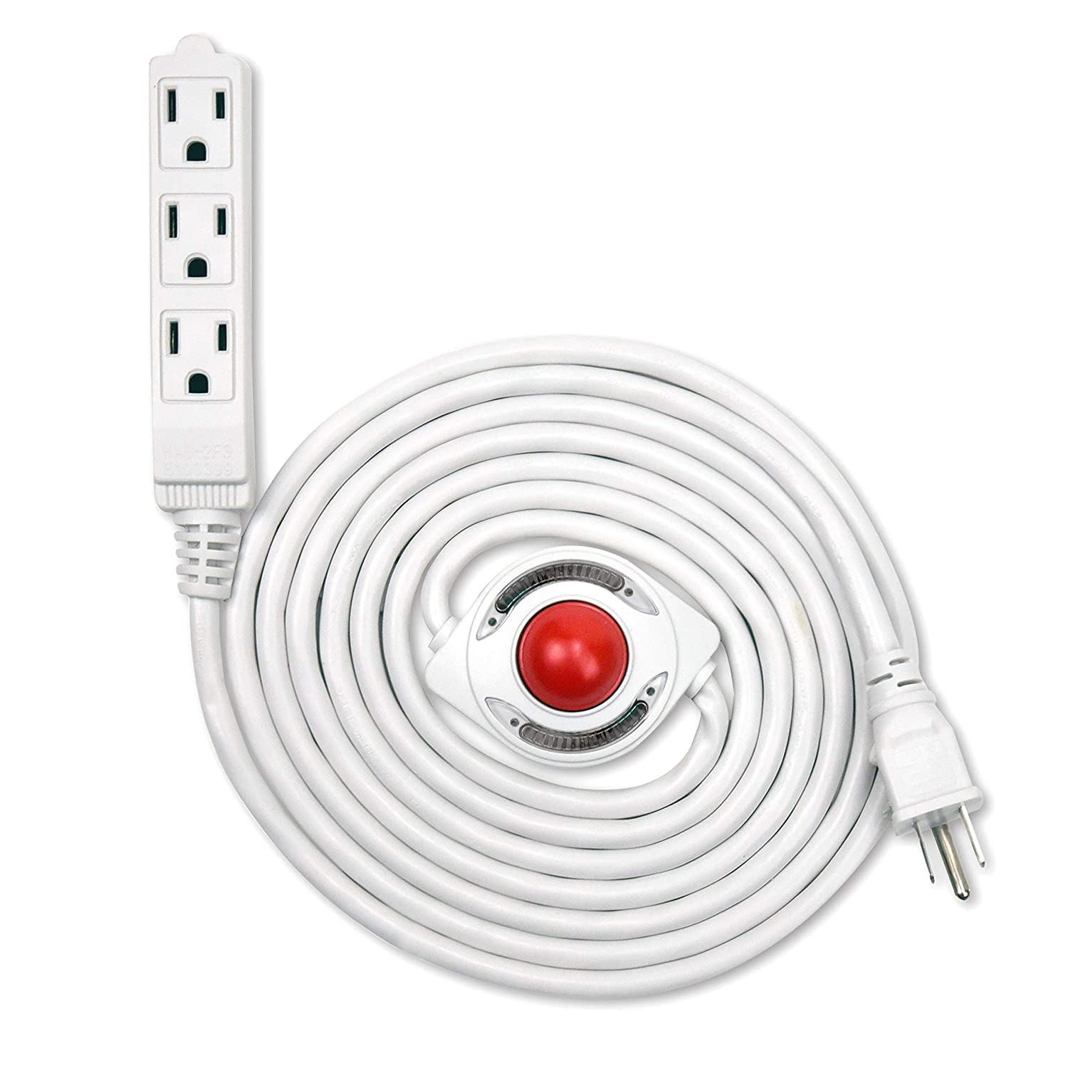 NEW! Electes 10 Feet 3 Grounded Outlets Extension Cord with Foot Switch and Light Indicator, 16/3, White - UL Listed