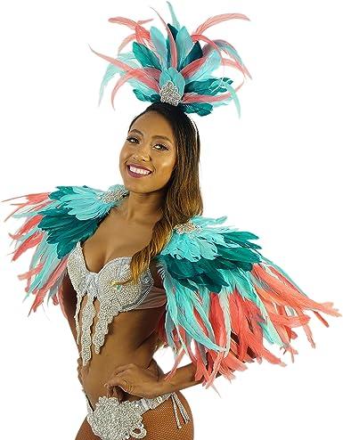 Amazon.com: Disfraz de carnaval de plumas tropicales Mardi ...