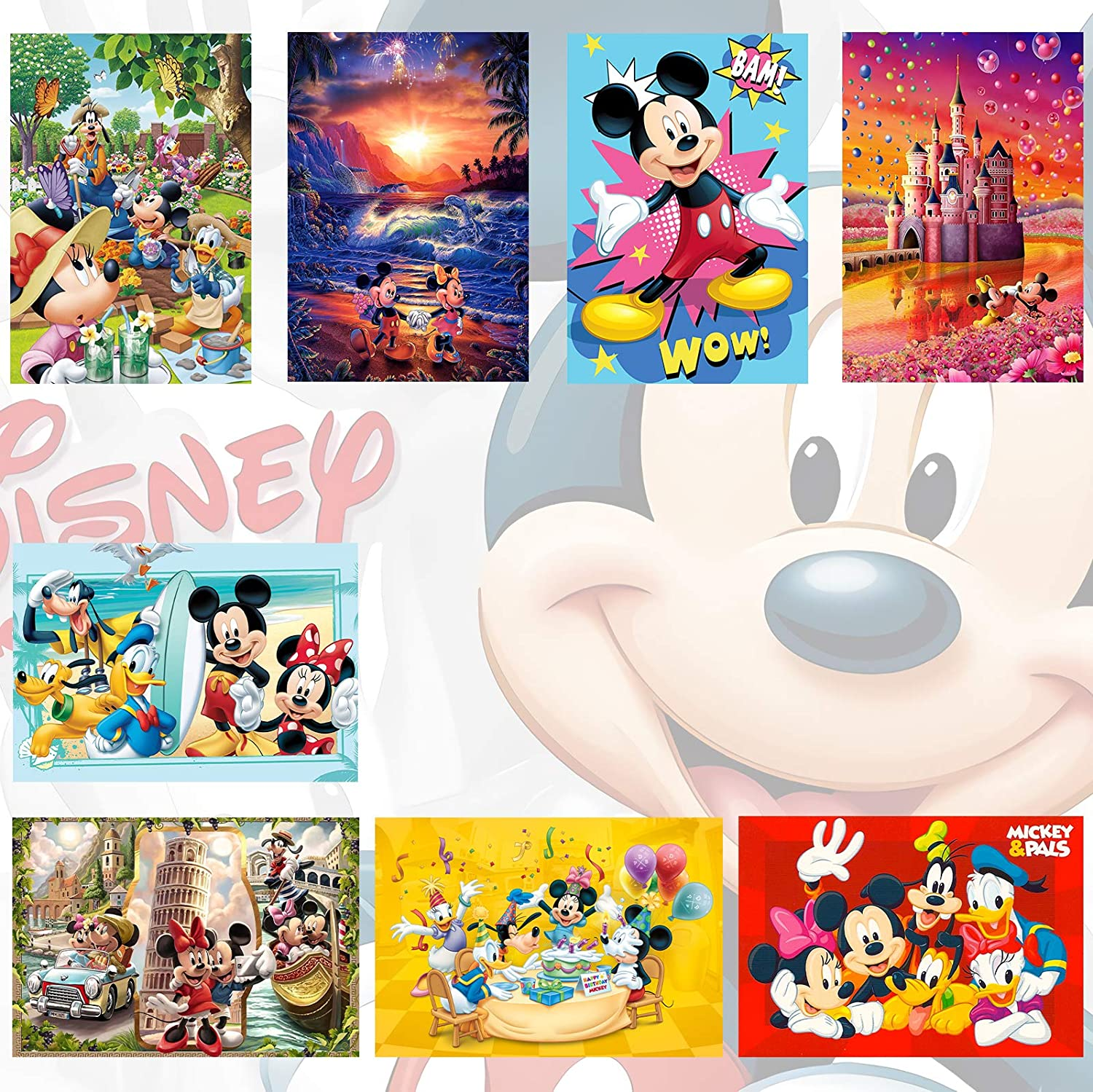Mic-key Mouse Poster Cute Wall Art Children Room Decor Set of 8 for Bedroom Home 11.4