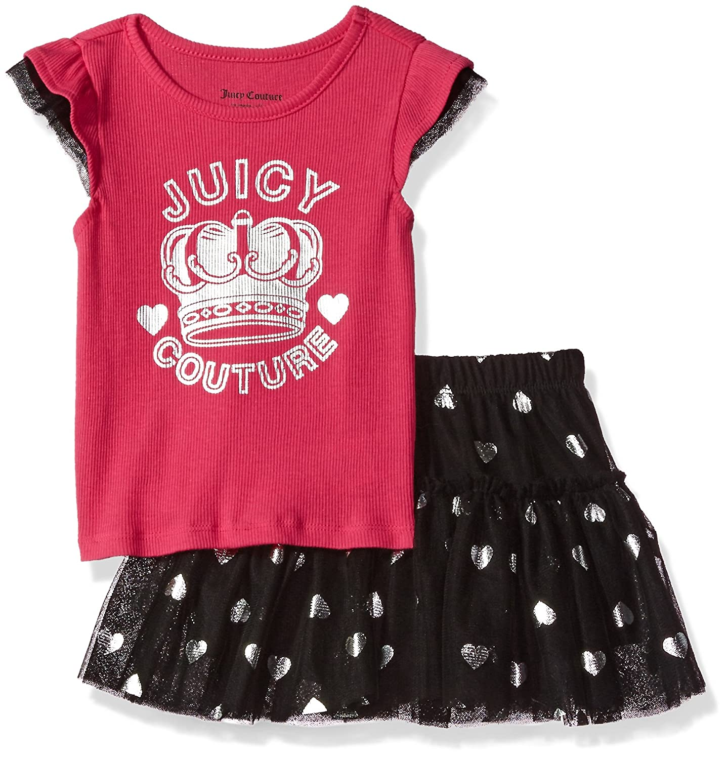 Amazon.com  Juicy Couture Little Girls  Toddler 2 Piece Skirt Set ... 829eb6e1e