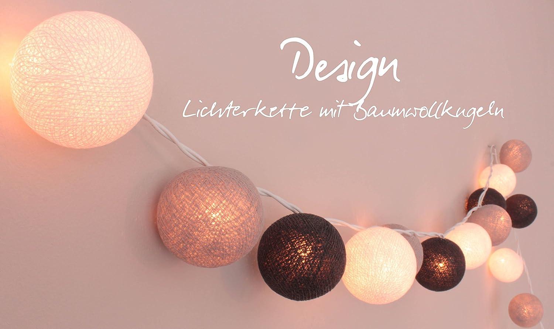 CREATIVECOTTON Cadena de luces LED Luna con 35 bolas de algodón ...