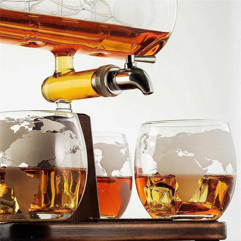 CARPET Garrafa de Whisky de Vidrio, Mundo Mapa del velero de ...