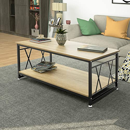 DEWEL Rustic Coffee Table with Storage Shelf for Living Room, Wood Look Accent Furniture with Metal Frame, Easy Assembly, Light Wood Grain 47 inch