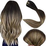 Full Shine Extensión De Cabello Con Clips De Pelo Natural Humano Pelo Brazilian Hair Balayage Color 1B Apagado Desvanecimient