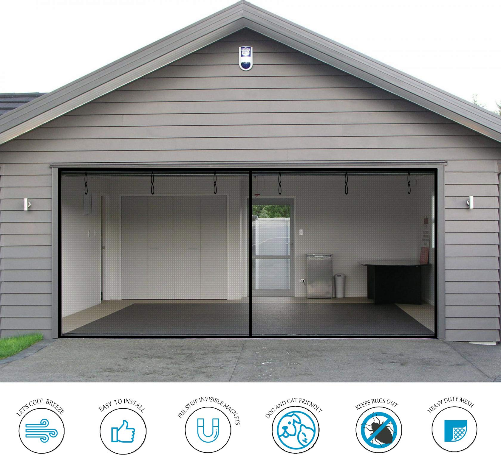 Garage Door Screen - 2 Car 16x7Ft Magnetic Closure Heavy Duty Weighted Bottom Screen Self Sealing Fiberglass Mesh Retractable Net - Easy Assembly & Pass-Through(Black) by PICK FOR LIFE