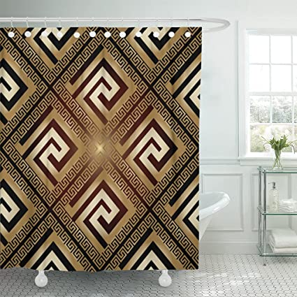 Varyhome Shower Curtain Versace Luxury Modern Shiny With Vintage Greek Gold Keys Flowers And Ornaments Shadows