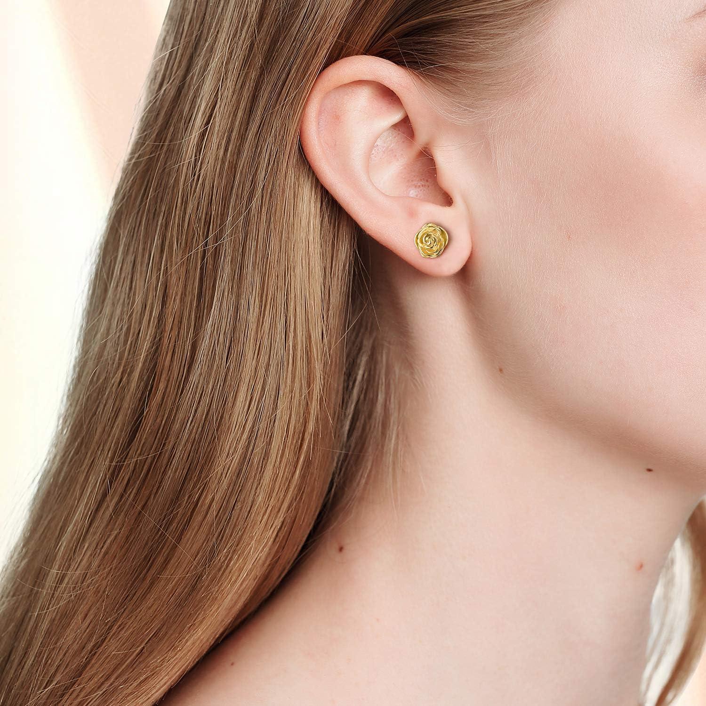 Esberry Placcatura in oro 18 carati Orecchini in argento sterling 925 con orecchini a fiore ipoallergenici Gioielli per donna e ragazza