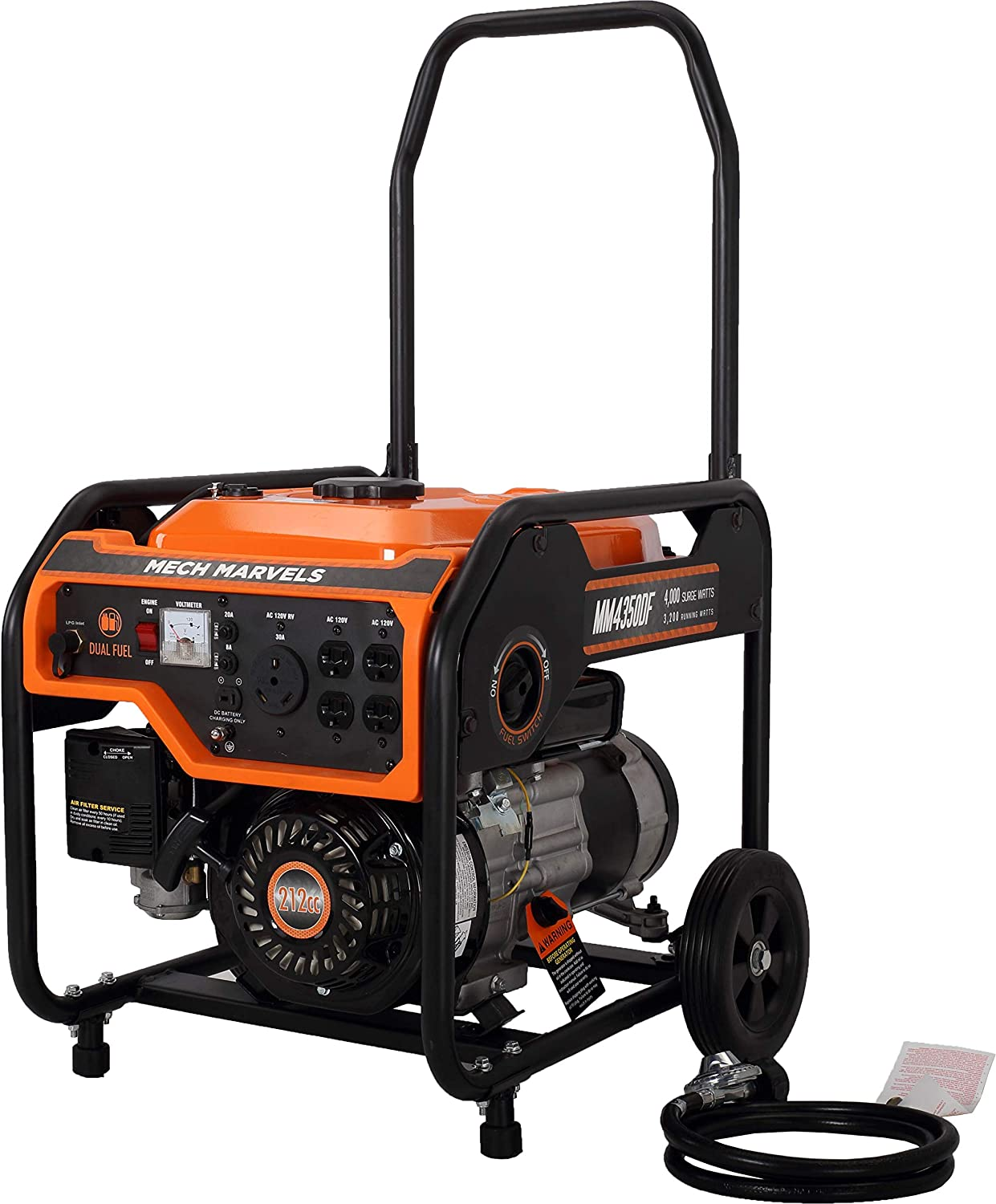 Mech Marvels 4000 Watt Dual Fuel Portable Power Generator with RV Outlet, CARB Compliant MM4350DF