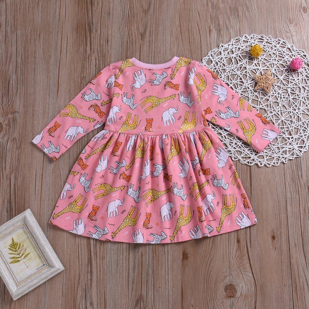 Younger star Little Girls Cotton Casual Cartoon Print Short Sleeve Skirt Dresses