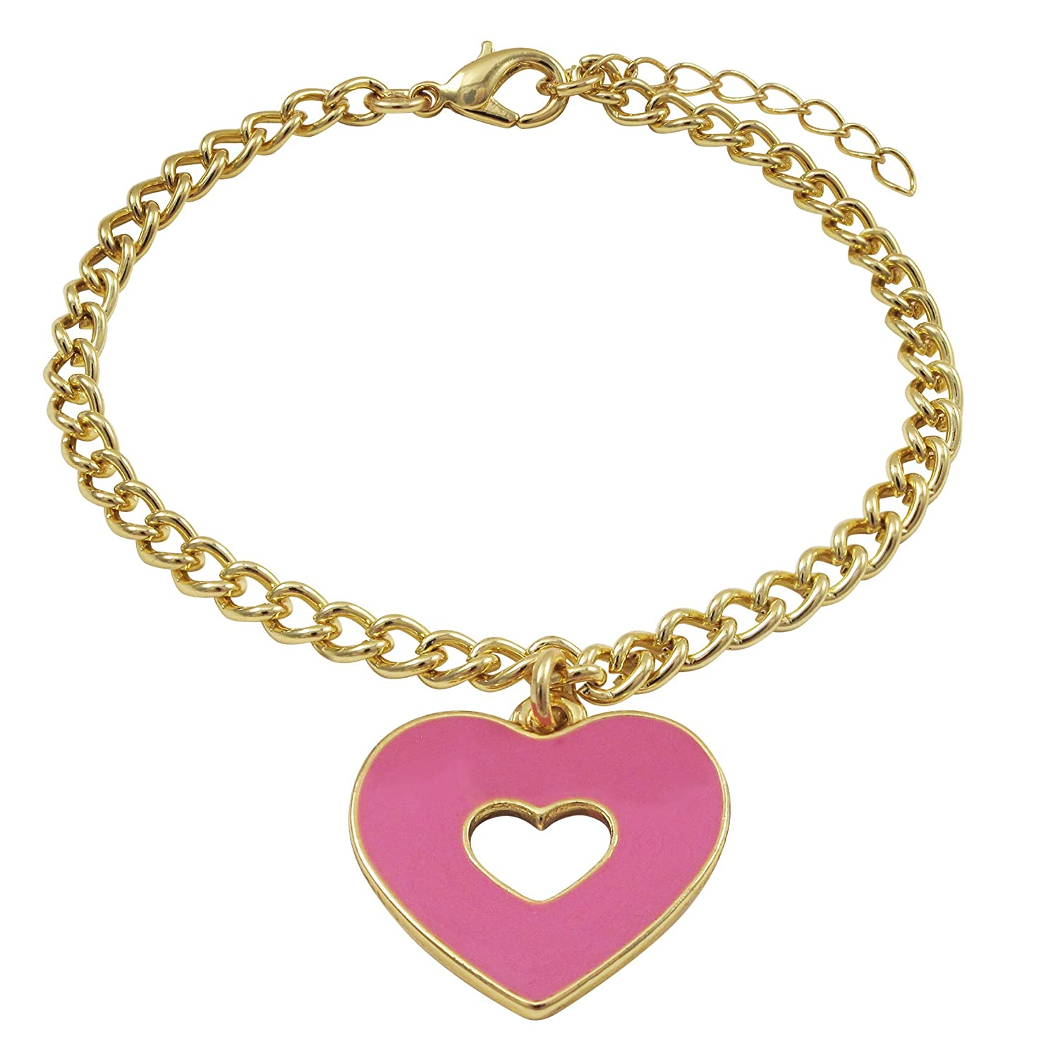 Ivy and Max Gold Finish Hot Pink Enamel Heart Girls Charm Bracelet 6.5+1 Extender